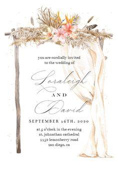 Boho Flowers Canopy - Wedding Invitation #invitations #printable #diy #template #wedding Free Wedding Invitations, Boho Flowers, Gift Registry, Response Cards, Boho Wedding, Canopy, Create Yourself, Island, Printable