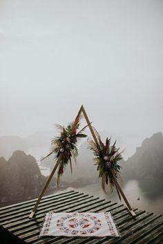 Truly Epic Tropical Bohemian Vietnam Elopement at Bai Tho Mountain This boho-inspired ceremony arch Wedding Altars, Boho Wedding, Floral Wedding, Dream Wedding, Pop Art Portraits, Ceremony Backdrop, Boho Backdrop, Wedding Events, Backdrops