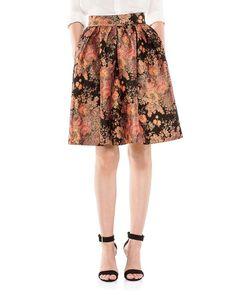 Maje Jaggy Floral Jacquard Flared Skirt
