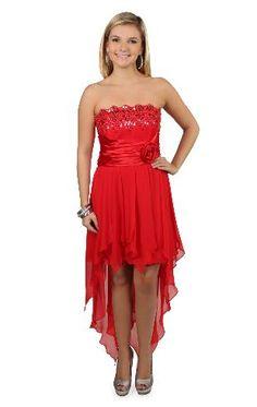 sequin bodice chiffon high low tendril prom dress.. Grad dress.