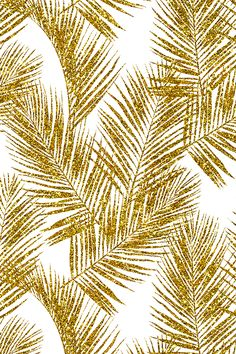 Gold Glitter Palm Leaves by mirabelleprint - Glitter palm leaves in gold on a white background on fabric, wallpaper, and gift wrap. Beautiful glittery plant forms!
