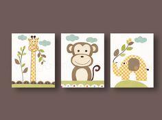 Nursery wall art, nursery art, baby nursery, kids room decor, giraffe, monkey, elephant, jungle, Set of 3, 11x14 Prints Old Buddies. $66.00, via Etsy.