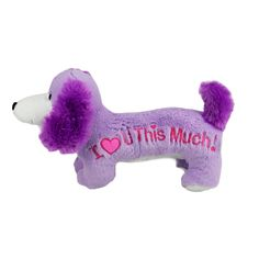 Title: Dachshund 'I love you this much' PURPLE Size: Measures 13 inch / 33cm long Price: AUS$ 19.95 Brand : Korimco  Lots more items like this available at: www.stuffedwithplushtoys.com 100 Day Returns |Fast Trackable Shipping|Amazing Service