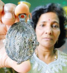 Woman finds ancient artifact in baby shark A baby shark being prepared for lunch gave a family here a big surprise - an ancient artifact believed to be dated long before the Portuguese conquest of Malacca. Housewife Suseela Menon, from Klebang, made the priceless discovery while filleting the fish for lunch. It is believed to be a medallion worn by the Portuguese soldiers, presumably as a divine protection, during their conquests in this part of the world in the 16th century.