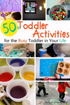 50+ Toddler Activities for the Busy Toddler in Your Life: ideas include sensory play, no mess art ideas, crafts, and learn through play activities for kids age 1-3-Awesome List!