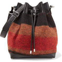 Proenza Schouler Large wool blend and leather bucket bag ($1,680) ❤ liked on Polyvore featuring bags, handbags and shoulder bags