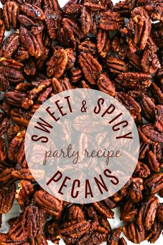 Sweet & Spicy Pecans Recipe for Entertaining Make these sweet & spicy pecans for holiday entertaining or any time you want to serve delicious nibbles. Get this great make-ahead recipe here. Glazed Pecans, Spiced Pecans, Roasted Pecans, Cinnamon Pecans, Pecan Recipes, Snack Recipes, Snacks, Oven Recipes, Christmas Appetizers