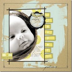 Really liking this one too.....a baby page doesn't always have to be ruffles and frills.  I would NEVER havd thought to get bold with paint like this on a layout....cool!