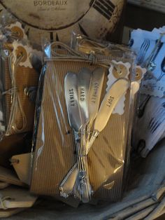 Set of four cheese knives stamped with labels make the perfect hostess gift or a treat for yourself.