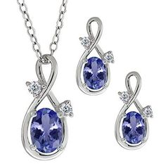 1.73 Ct Oval Blue Tanzanite Gemstone 14k White Gold Pendant Earrings Set