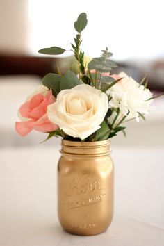 Spray painted Mason jar for centerpieces