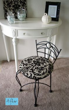 white vanity chair, vintage refinished vanity or make up chair