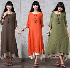 2015Summer Casual Dress Women Fashion Half Sleeve Cotton Linen Long Dress Female Loose Plus Size Vintage Dress vestido femininos