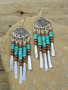 Turquoise Native Southwest Tribal Earrings by StoneWearDesigns