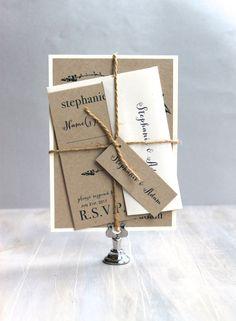 "Wedding Invitations, Rustic Wedding Invitations, Rustic Wedding, Navy and Green - ""Rustic Navy"" Deposit by BeaconLane on Etsy https://www.etsy.com/listing/172925391/wedding-invitations-rustic-wedding"