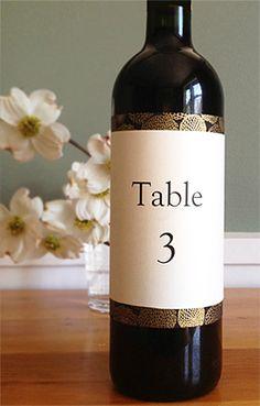 DIY wine bottle table number labels