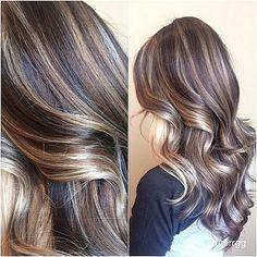 Deep Brown Hair, Brown Hair With Blonde Highlights, Hair Highlights, Dark Hair, Chunky Highlights, Caramel Highlights, Ombré Hair, Hair Dos, Latest Hair Trends