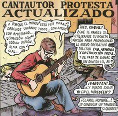 Cantautor protesta actualizado, un dibujo de Miguel Brieva