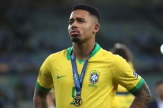 Gabriel Jesus of Brazil looks on during the Copa America Brazil Manchester City, Manchester United, Gabriel Jesus, Vintage Football, Soccer Players, Premier League, Brazil, That Look, Boys