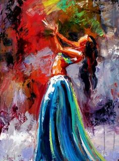 Woman dancing worshiping the Lord in dance, prophetic art.