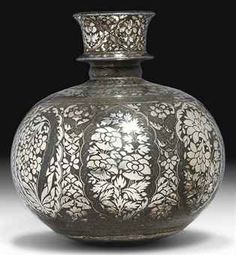 A BIDRI HOOKAH BASE Historical Art, Antique Metal, Metal Crafts, Indian Art, Art Google, Objects, Miniatures, My Favorite Things, Antiques