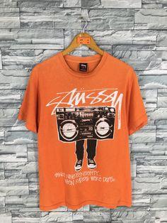 2da4bc10459 Vintage 90 s STUSSY T shirt Medium Stussy Usa Dj Breakdance Skateboard New  York Tour Stussy Streetwear Skater Orange T shirt Size M