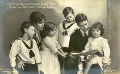 Kronprinz Gustaf Adolf von Schweden mit Familie, Crown Prince of Sweden with his family