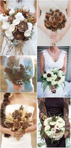 Rustic pinecones wedding bouquet ideas for you big day | http://www.weddinginclude.com/2016/09/pinecones-wedding-ideas-for-your-winter-wedding/