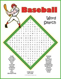 If you are ready for an exciting challenge, try to find all of the hidden words in this baseball word search! Trying to find all of the hidden words in this baseball word search grid will make your time more fun! Baseball Activities, Baseball Crafts, Senior Activities, Fun Activities, Baseball Party Games, Spring Activities, Baseball Birthday, Montessori Activities, Sports Activities For Kids