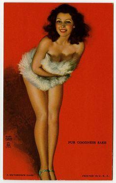 Vintage Earl Moran 1940s Art Deco Risque Mutoscope Pin-Up Card Fur Goodness Sake #MutoscopeCard