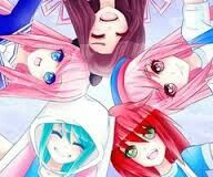 Ldshadowlady (pink hair) Mitty( turquoise hair) Yammy (Brown hair) Vengulfe (brown eyes) Nyan strike (red hair )