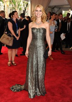 Claire Danes was the picture of glamour in a metallic Burberry