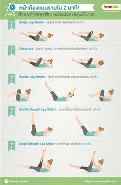 หน้าท้องแบนราบใน 2 นาที! ด้วย 5 ท่าลดพุงย้อย เหนื่อยน้อย แต่หุ่นเป๊ะมาก! Bed Workout, Abs Workout Video, Gym Workouts, At Home Workouts, Physical Fitness, Yoga Fitness, Health Fitness, Healthy Exercise, Health And Beauty Tips