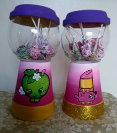 Painted candy jar in Shopkins design.