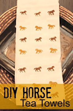 DIY Horse Tea Towels - super easy way to sponge paint towels (you can use any shape punch)