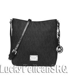 58f6ab58fd24 Michael Kors Jet Set Large MK Signature PVC Messenger Crossbody Bag Black  NWT