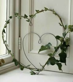 Wire heart twined with ivy.