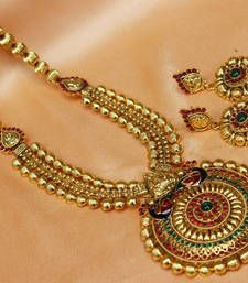 Buy gorgeous gold plated peacock necklace necklace-set online