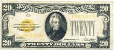 """United States twenty-dollar bill 1928 20 Dollar Gold Certificate """"small size twenty"""" Obverse: Portrait of Andrew Jackson U. Gold Bullion Bars, Silver Bullion, Rare Coins Worth Money, Money Notes, Old Money, Old Paper, Coin Collecting, Gold Coins, Certificate"""