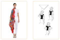 Ce nouage « Cravate asymétrique » est réalisable avec un carré:  90x90 cm•140x140 cm. Jouez avec votre carré Hermès avec l'application Silk Knots ! #Hermes #Silk #SilkKnots