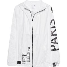 UEG Paris White // Outdoor jacket with print (705 BRL) ❤ liked on Polyvore featuring men's fashion, men's clothing, men's outerwear, men's jackets, letter mens jacket, mens slim jacket, mens white jacket, mens lightweight jacket and mens short sleeve jacket