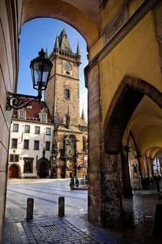 Prague- Astronomical Clock (and Starbucks right under that awning!)  - Explore the World with Travel Nerd Nici, one Country at a Time. http://travelnerdnici.com