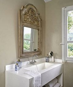Glass Tiles (Waterworks) On The Walls And Floor In This Guest Bathroom . By  Designer Jay Jeffers. Deco Mirrors From Pottery Barn.