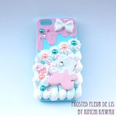 Decoden style hard plastic iPhone 5 case with frosting and 'whipped cream'.  Note: not intended for children as small parts may become a choking hazard.