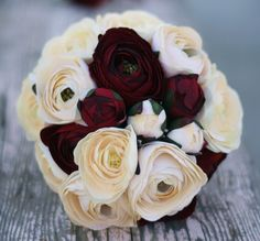 MHD Wholesale: Woodland Romance Winter Wonderland Bride Bouquet Ivory and Red Burgundy Roses and Ranunculus Wrapped in Grapevines Rustic Garden Lake Cottage Forest Mountains CHIC