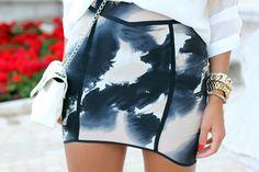 blue brush patterned skirt
