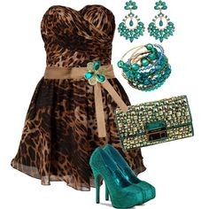 """""""Teal and Leopard Print"""" by jlg8503 on Polyvore"""