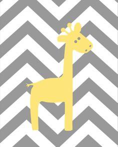 Yellow and Gray Nursery Elephant Giraffe Print Set by karimachal