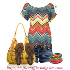 """""""Colorful Zig Zags"""" love this top Preppy Mode, Preppy Style, My Style, Spring Summer Fashion, Spring Outfits, Casual Outfits, Cute Outfits, Short Outfits, Cute Fashion"""