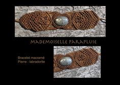 bracelet macramé marron pierre labradorite reflet oeil de tigre p | Flickr - Photo Sharing!